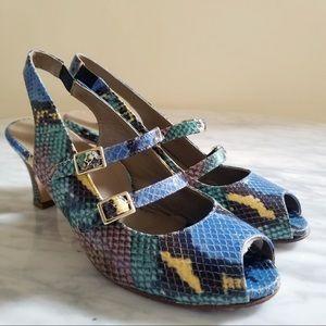 Anyi Lu Italian Snake Print Kitten Heel Sandals